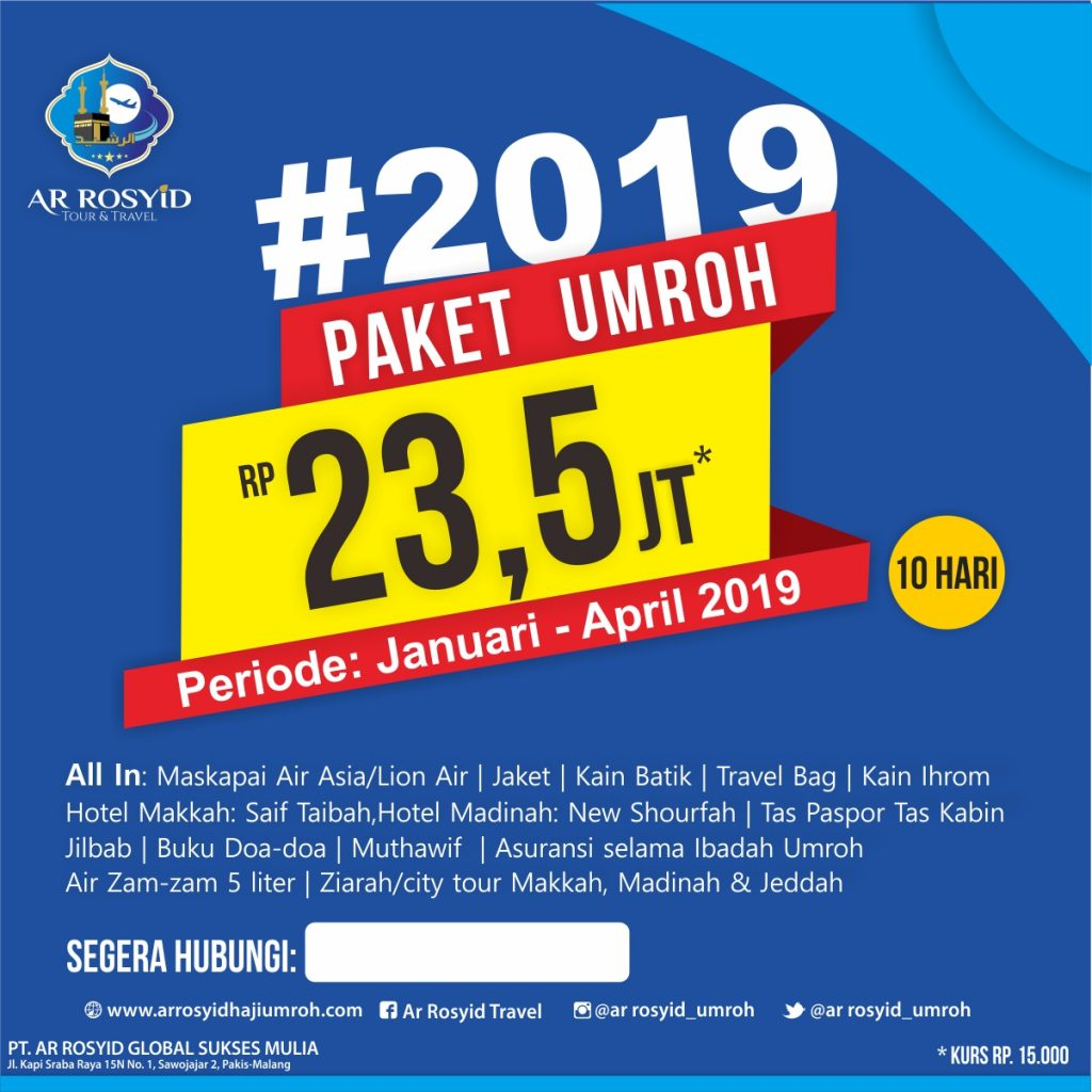 Paket Januari, Februari-maret-april 2019 Ar Rosyid Tour& Travel